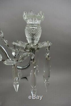 Vintage Elegant Cut Glass Candelabra 2 Arm Obelisk Prisms Crystal Swags Set of 2