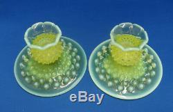 Vintage FENTON VASELINE OPALESCENT HOBNAIL 2 ART GLASS TOPAZ CANDLE HOLDER