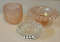 Vintage Fenton Fairy Lamp Art Glass Candle Holder Carnival Iridescent 3 Piece