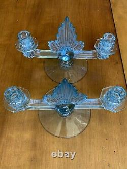 Vintage Fostoria 2 Blue Azure Flame Double Candlestick Holders Art Deco Rare