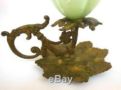 Vintage Grape Cluster Iron Chamberstick Candle Holder Jadite Green Opaline Glass