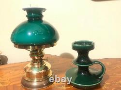 Vintage Green Holmegaard Kerosene Lamp and Candle Holder