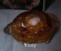 Vintage L. E. Smith 2 Piece Amber Turtle Fairy Lamp/Light Candle Holder WithBox, VG