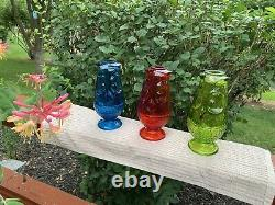 Vintage MCM Viking Glass OWL FAIRY LAMPS, sold As A LOT of 3pcs, FREE SHIPPING