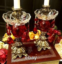 Vintage Metal Candle holders Baroque Ruby Red Hanging Crystals with Bobeches