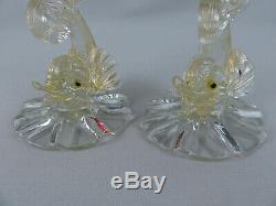 Vintage MidCentury AVEM Murano Handblown Venetian Art Glass Dolphin Candlesticks