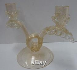 Vintage Murano Gold Flake Candelabra Candle Stick MID Century Decorative