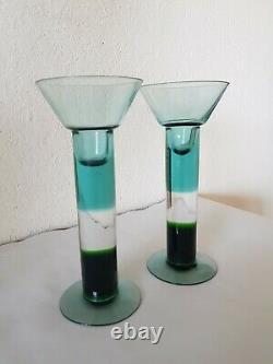 Vintage Pair NUUTAJARVI KERTTU NURMINEN Finland ART GLASS CANDLE HOLDERS Signed