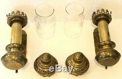 Vintage Pair Of Railway Train Carriage Wall Sconces Candle Holders Brass Glass