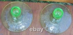 Vintage Pair of Cameo/Ballerina Etched Green Glass Candlesticks