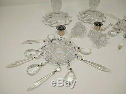 Vintage Pair of Crystal Cut Glass Candlesticks Candle Holders, Prism Crystals