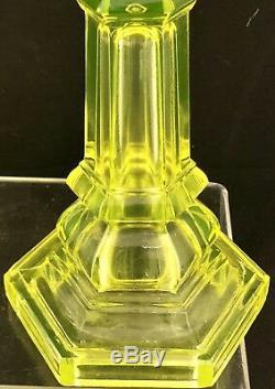 Vintage Pair of Vaseline Uranium Depression Glass Candlesticks 2 Candle Holders