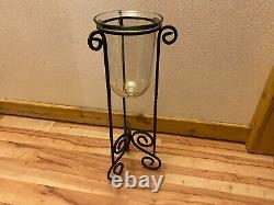 Vintage Partylite Wrought Iron Hurricane Glass Seville 3 Wick Candle Holder