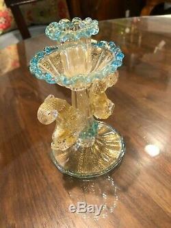 Vintage Salviati Venetian Murano Blown Glass Art Blue Dolphin Fish Candle Holder