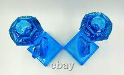 Vintage Set Of 2 Matching 11 Tall Imperial Mma Blue Glass Koi Fish Candlesticks