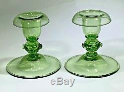 Vintage Steuben Carder Design Pair Pomona Clear Glass Green Candlesticks