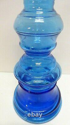 Vintage Tall Blue Italian Glass Candle Stick Holder / Vase Genie Bottle Style