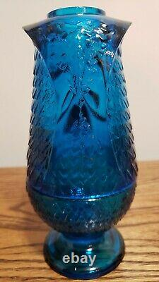 Vintage Viking Blue Glass Owl Fairy Lamp 2 Piece Candle Holder