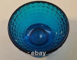 Vintage Viking Blue Glass Owl Fairy Lamp Candle Holder Bluenique