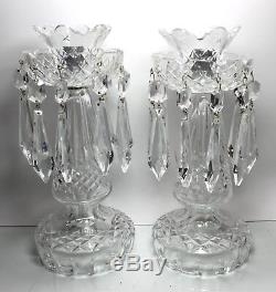 Vintage WATERFORD Crystal Set of 2 Candelabras Candlesticks with Bobeches, Prisms
