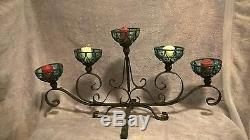 Vintage Wrought Iron And Glass Candle Holder Centerpiece 30 Long 16 high