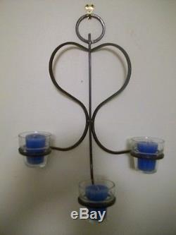 Vintage Wrought Iron Metal Candles Holder Wall Art Sconces Glass Votives Unique