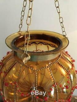 Vtg Brass & Hand Blown Beaded Cage Glass Hanging Lantern Candle Holder Lamp Pair
