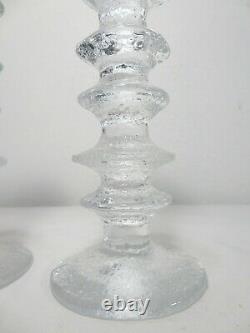 Vtg IITTALA GLASS 6 RING FESTIVO CANDLE HOLDERS PAIR Sarpaneva Art MID CENTURY