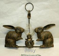 Vtg Petites Choses 2 RABBITS Cast Iron Hanging OIL LAMP HOLDER Candle Sconce