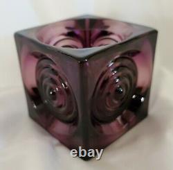 Vtg Viking Glass Bullseye Glimmer 2½ PLUM Candle Holder SUPER HTF