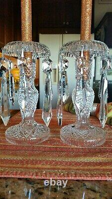WATERFORD CRYSTAL ALANA PAIR CANDLE HOLDERS 8 in tall with Bobeche and crystals