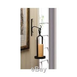 Wall Candle Holder Sconce Pillar Black Hanging Iron Hurricane Glass Wrought Hook