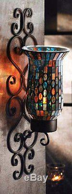 Wall Sconce Candle Holder Light, Hanging Decor, Mosaic Glass & Metal Stand