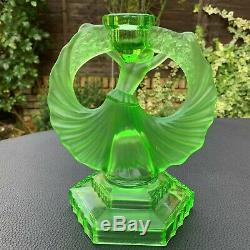 Walther & Sohne Art Deco Green Uranium Glass Dancing Lady Candle Holder 1930's