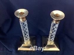 Waterford Cambridge Large Candlestick Holders 11 Crystal & Brass STUNNING