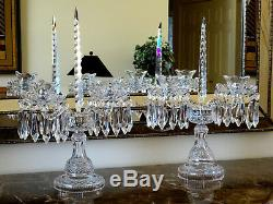 Waterford Crystal Double Arm Candelabras with Bobeches & Prisms Vintage Pair