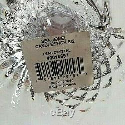 Waterford Crystal Sea Jewel CandleSticks! 1 Pair! NIB