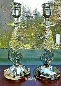 Waterford Crystal Seahorse Candlesticks! 1 Pair! NIB