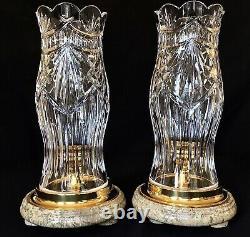 Waterford Irish Crystal Thomas Jefferson Hurricane Candle Holders (2)