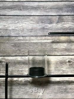West Elm Lattice Wall Votive Tea Light Candle Holder Grid Modern Iron Glass NEW
