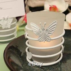 White Butterfly Steel Candle Holder with Glass Cup and Candle Price for 84