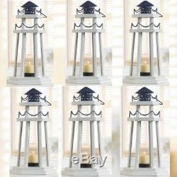 White Wood Lighthouse Lantern 6 Piece Lot Votive Candle Holder Nautical Decor