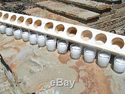 Wooden 12 hole Sugar Mold CANDLE Holder COMPLETE Set Clear glass votives