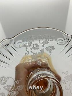 X 2 Fostoria Crystal Amber Morning Glory Candlestick 1931-1935 Sold Separately