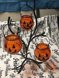 Yankee Candle Halloween Glass Jack OLantern Tree Tea Light Holder Nwts Rare