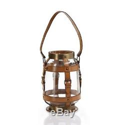 Zodax BAR-497 Equestrian Leather, Glass, and Brass Hurricane Candle Holder